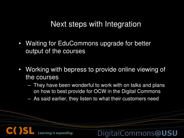 Next steps with Integration