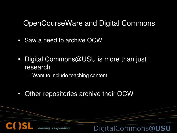 OpenCourseWare and Digital Commons