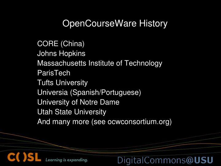 OpenCourseWare History
