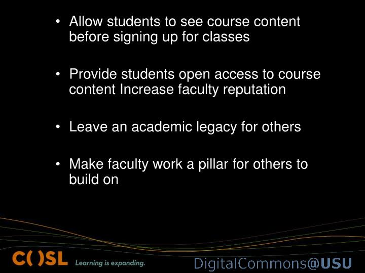 Allow students to see course content before signing up for classes