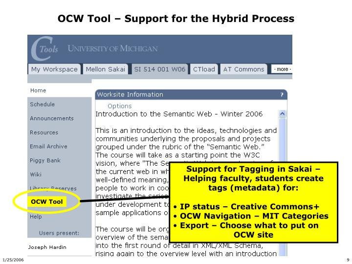 OCW Tool – Support for the Hybrid Process