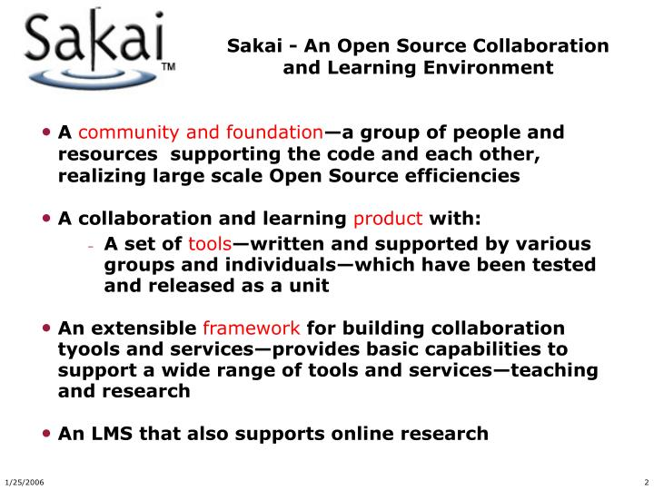 Sakai an open source collaboration and learning environment