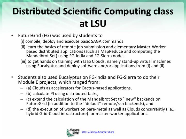 Distributed Scientific Computing class at LSU