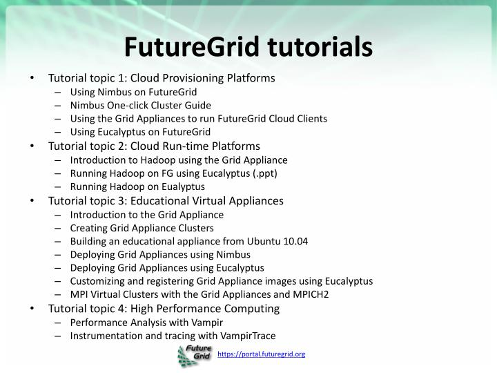 FutureGrid tutorials