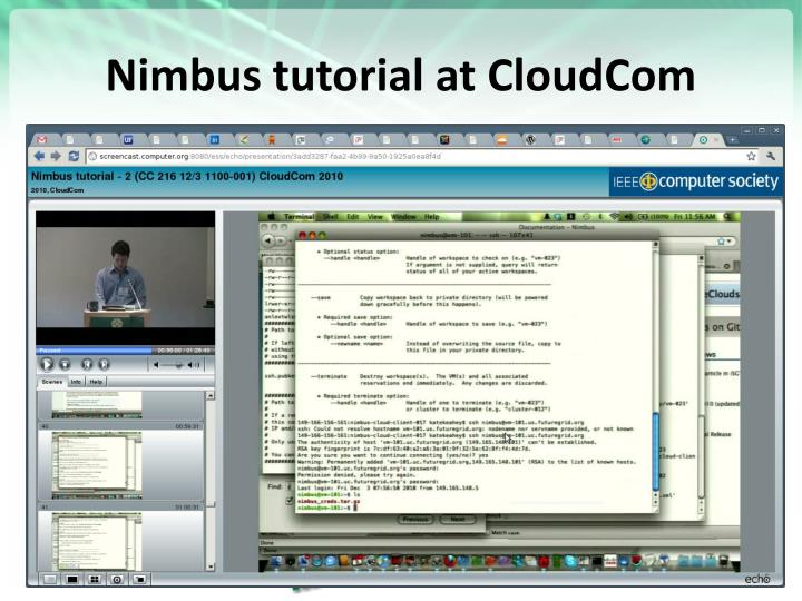 Nimbus tutorial at CloudCom