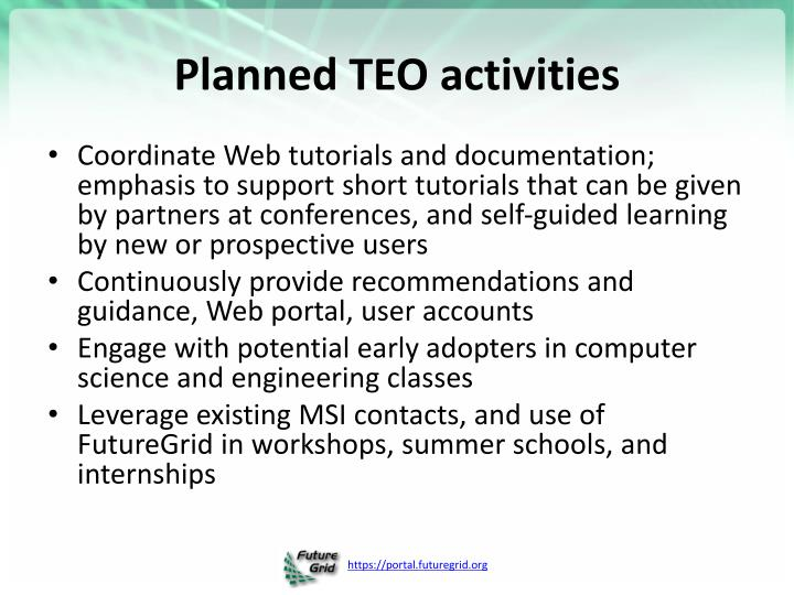 Planned TEO activities