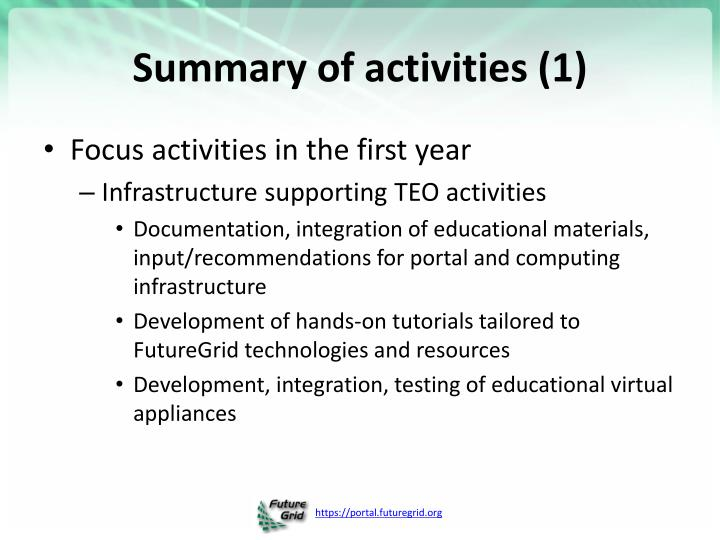 Summary of activities (1)