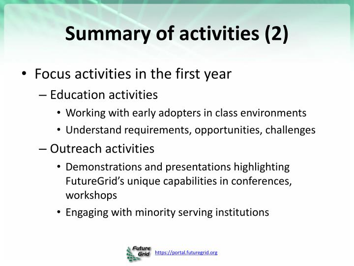 Summary of activities (2)