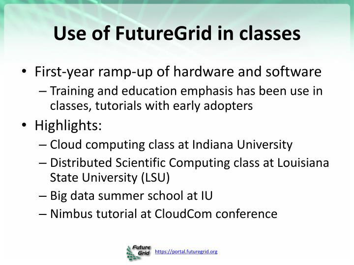 Use of FutureGrid in classes
