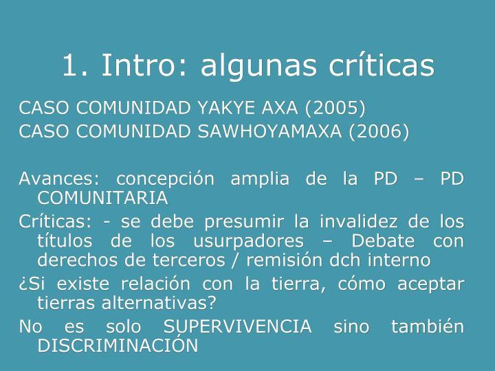 1. Intro: algunas críticas