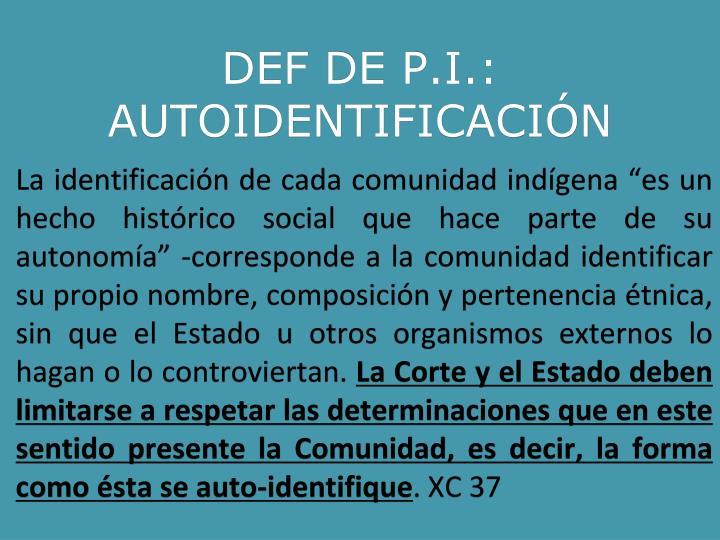 DEF DE P.I.: AUTOIDENTIFICACIÓN