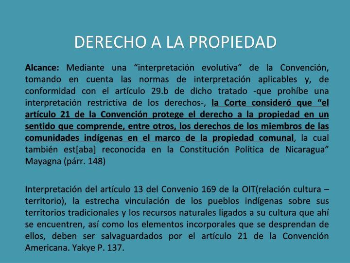 DERECHO A LA PROPIEDAD