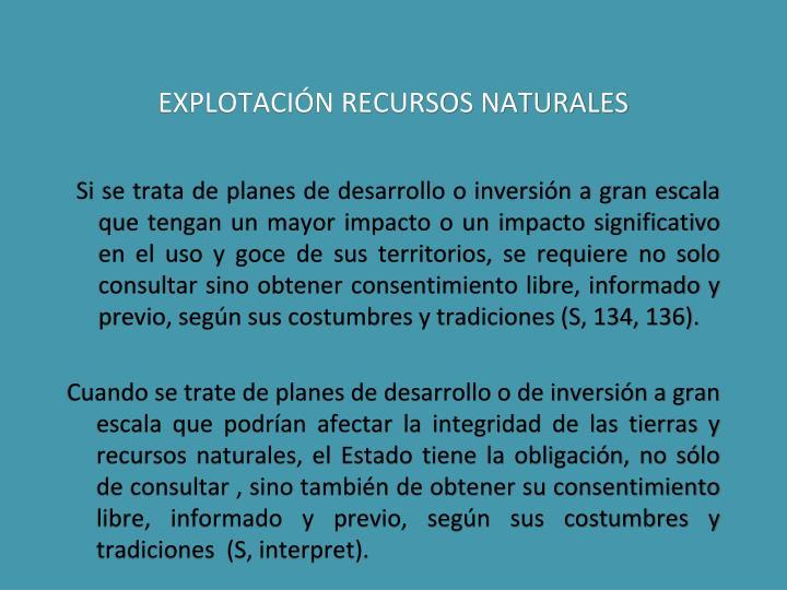 EXPLOTACIÓN RECURSOS NATURALES