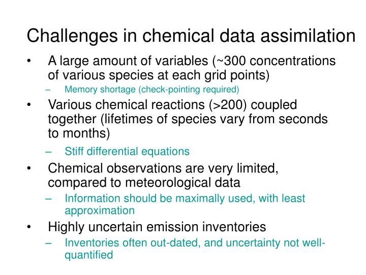 Challenges in chemical data assimilation