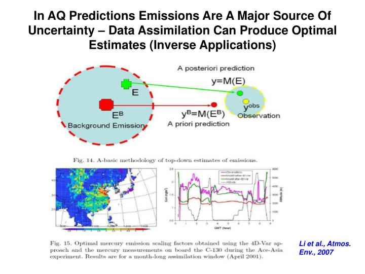 In AQ Predictions Emissions Are A Major Source Of Uncertainty – Data Assimilation Can Produce Optimal Estimates (Inverse Applications)