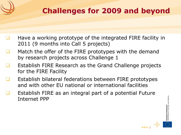 Have a working prototype of the integrated FIRE facility in 2011 (9 months into Call 5 projects)