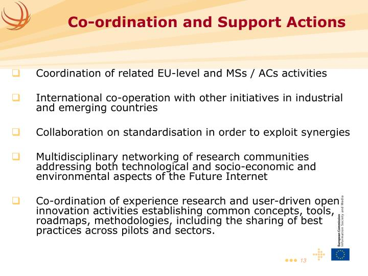 Coordination of related EU-level and MSs / ACs activities