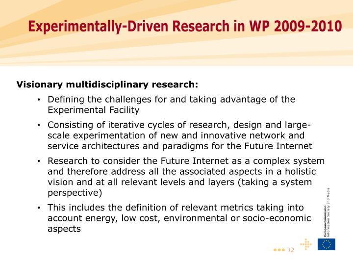 Experimentally-Driven Research in WP 2009-2010