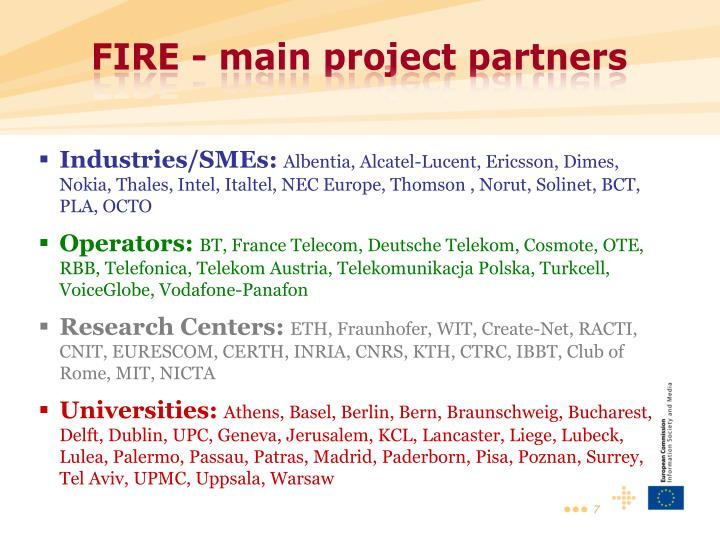FIRE - main project partners
