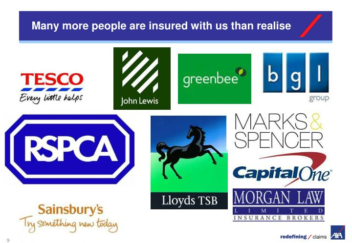 Many more people are insured with us than realise