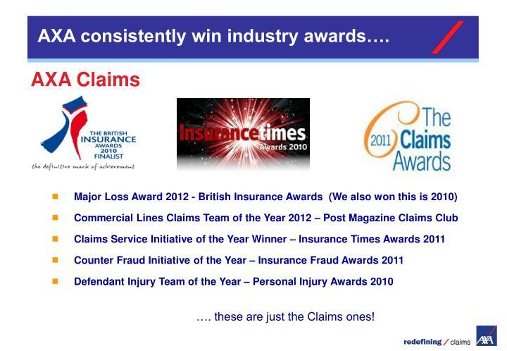 AXA consistently win industry awards….