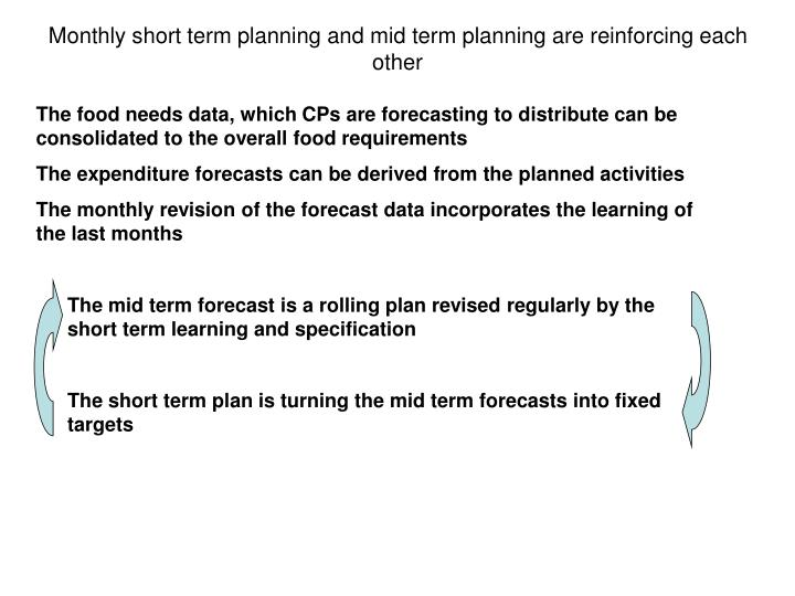 Monthly short term planning and mid term planning are reinforcing each other