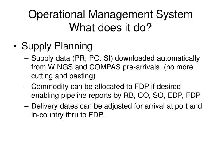 Operational Management System