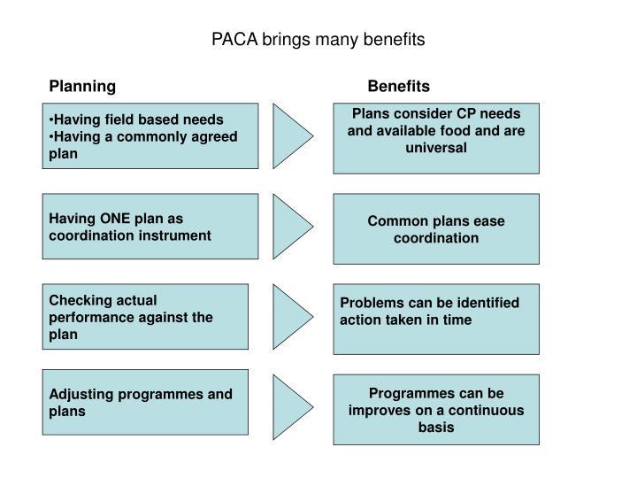 PACA brings many benefits