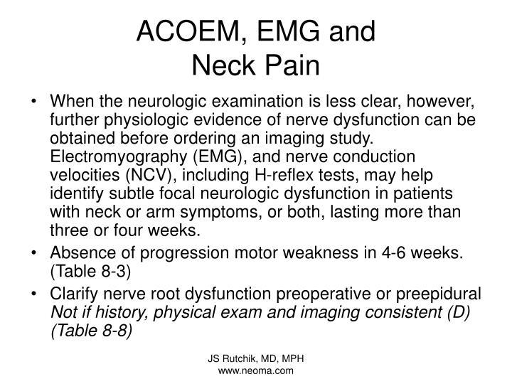 ACOEM, EMG and