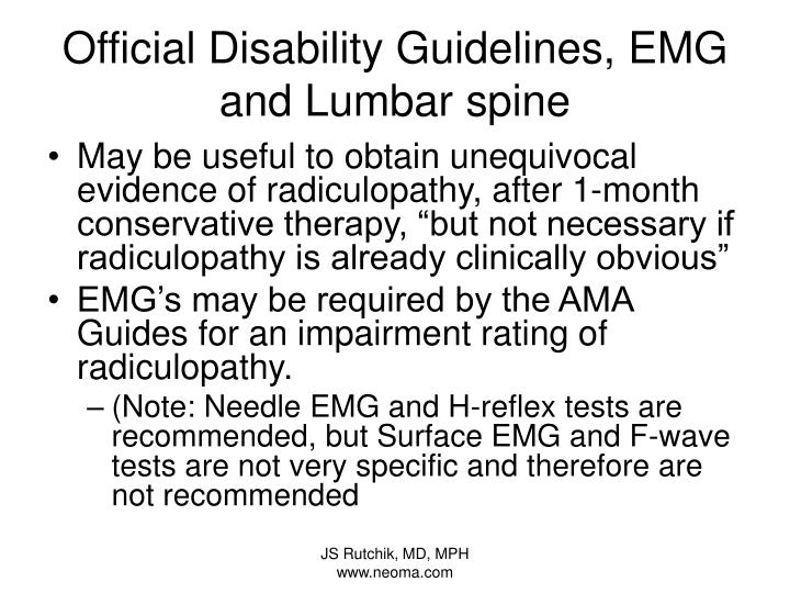 Official Disability Guidelines, EMG and Lumbar spine