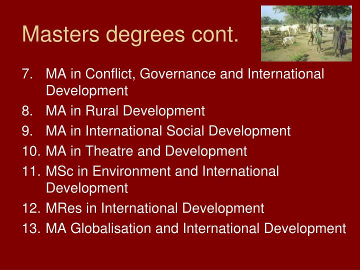 Masters degrees cont.
