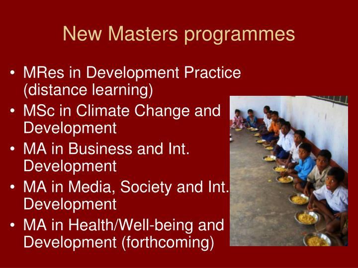 New Masters programmes