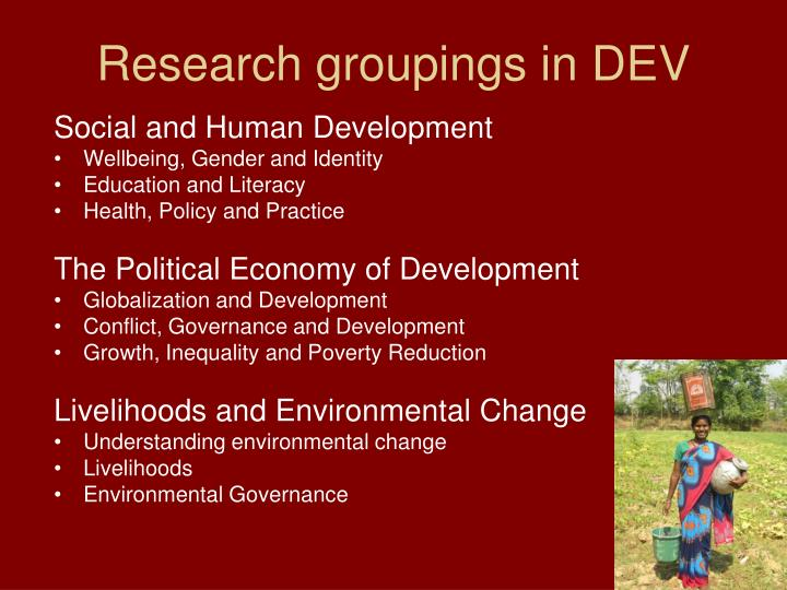 Research groupings in DEV