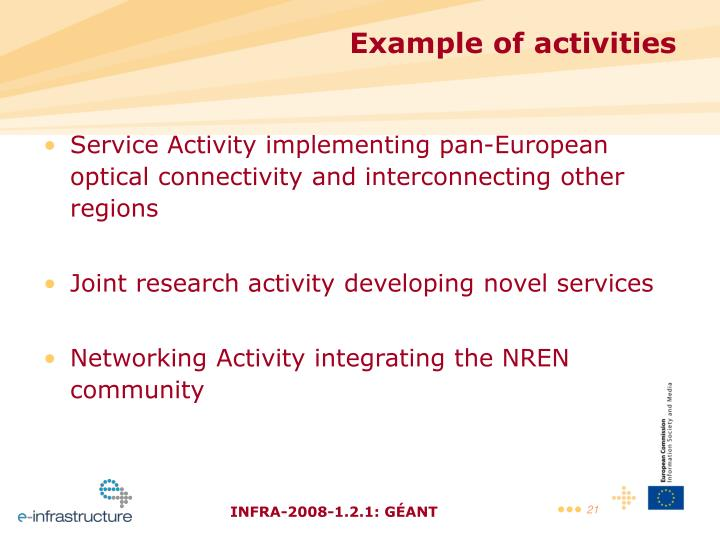 Service Activity implementing pan-European optical connectivity and interconnecting other regions