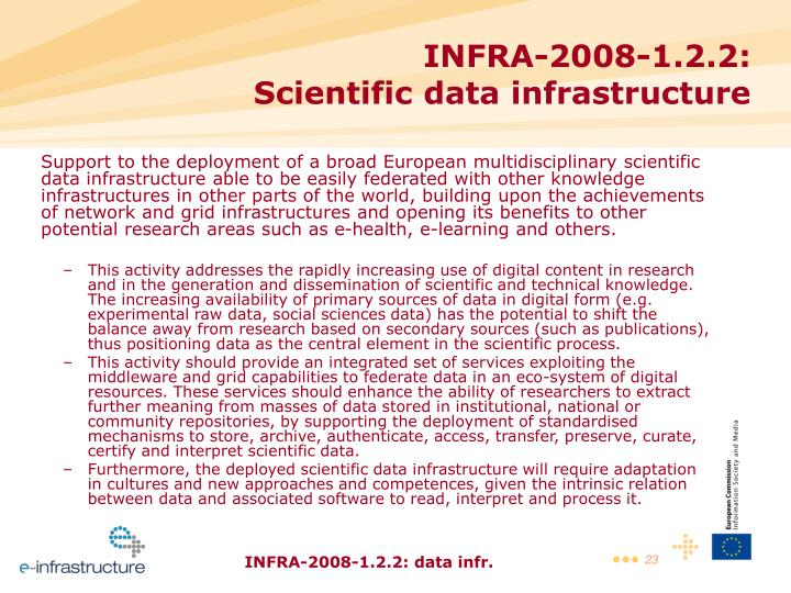 Support to the deployment of a broad European multidisciplinary scientific data infrastructure able to be easily federated with other knowledge infrastructures in other parts of the world, building upon the achievements of network and grid infrastructures and opening its benefits to other potential research areas such as e-health, e-learning and others.