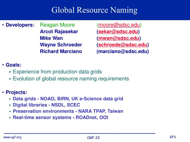 Global resource naming
