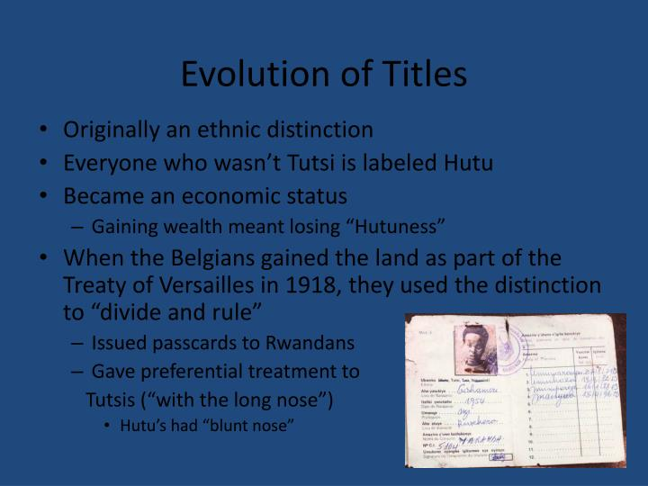 Evolution of Titles
