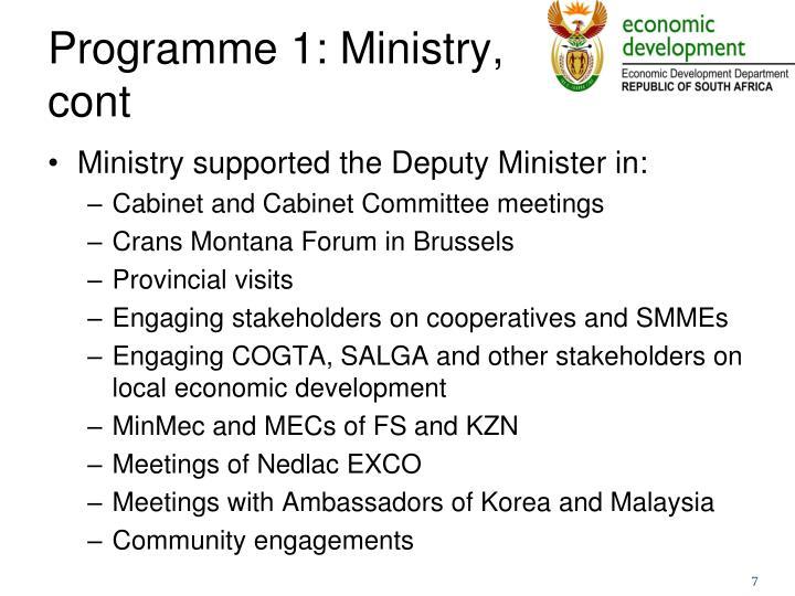 Programme 1: Ministry,