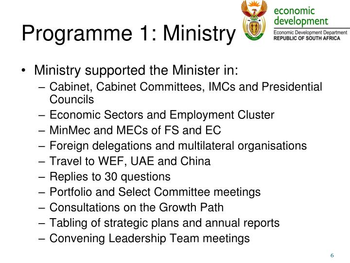 Programme 1: Ministry