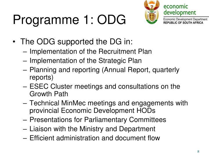 Programme 1: ODG