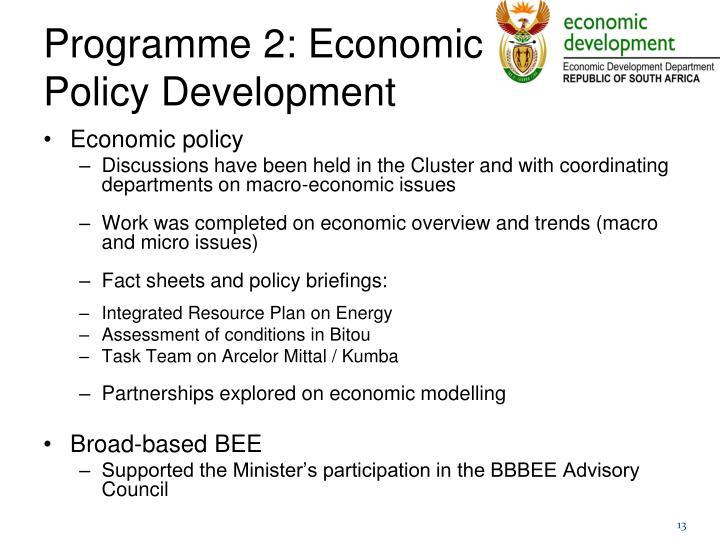 Programme 2: Economic