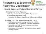 programme 3 economic planning coordination