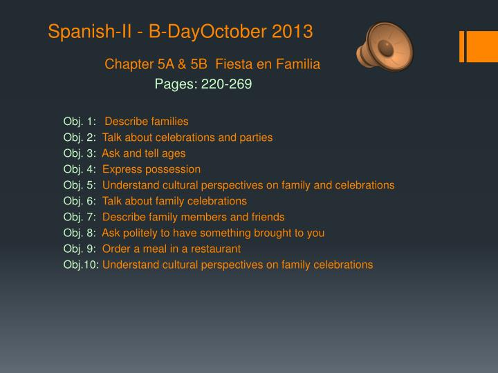 Spanish-II - B-DayOctober 2013