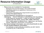 resource information usage an observation