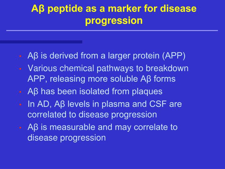 Aβ peptide as a marker for disease progression