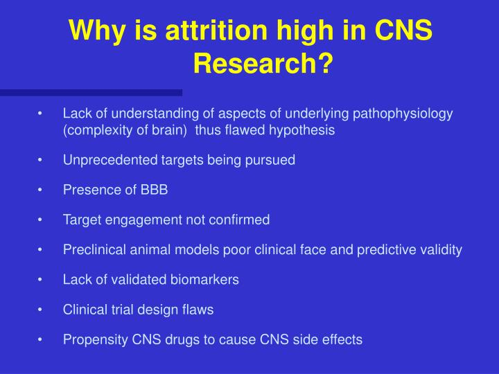 Why is attrition high in CNS Research?