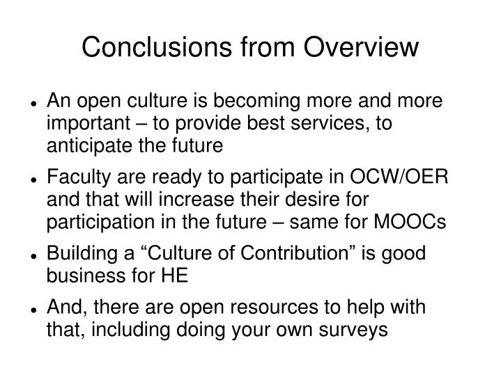 Conclusions from Overview