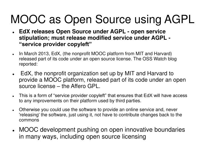 MOOC as Open Source using AGPL