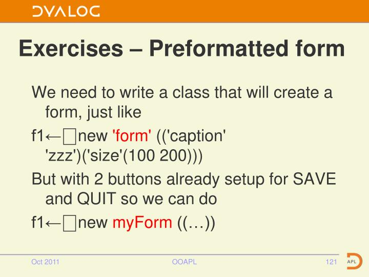 Exercises – Preformatted form