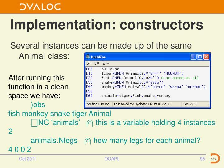 Implementation: constructors